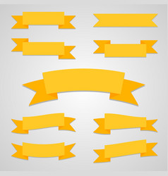 Ribbon flat set with shadow vector