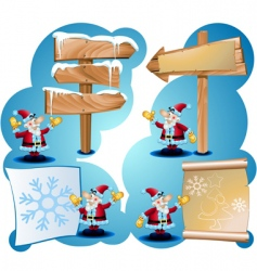 santa claus and road signs vector image