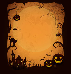 Scary dark halloween poster with spooky objects vector