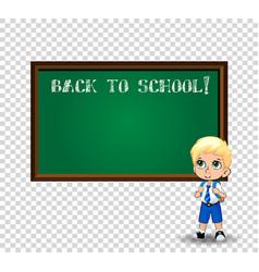 school boy near blackboard with chalk inscription vector image