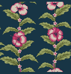 seamless pattern tropical design flowers leaves vector image