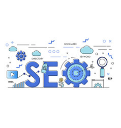 seo concept banners with seo performance seo vector image