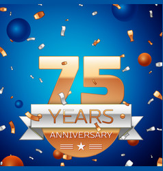 Seventy five years anniversary celebration design vector