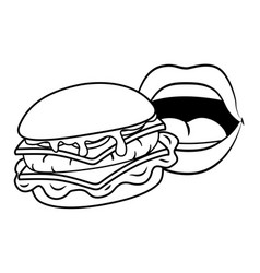 Sexy lips and hamburger black and white vector