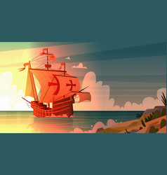 Ship in sea on sunset happy columbus day national vector