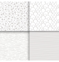 Simple neutral monochrome seamless patterns set vector image