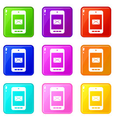 Smartphone with email symbol on the screen icons vector