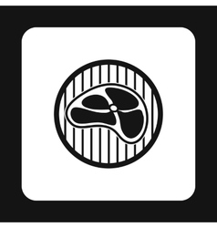 Steak on grill icon simple style vector