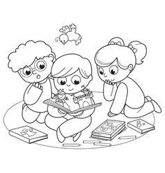 Three kids reading a pop-up book vector image vector image