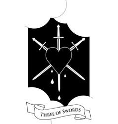 Three swords heart pierced three swords on vector