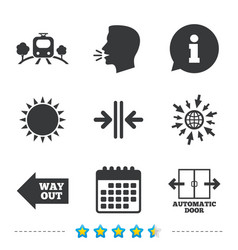 Train railway icon automatic door symbol vector