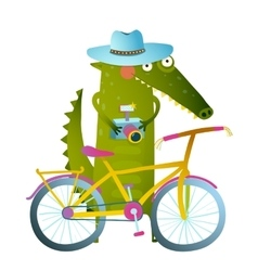 Traveling crocodile tourist with suitcase camera vector image