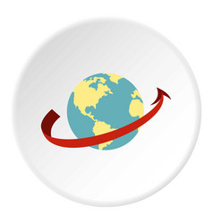 Travelling by plane around the world icon circle vector