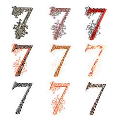 Various combination numeric figures 7 vector