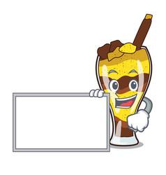 With board mangonada fruit character cartoon vector