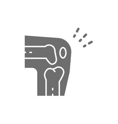 X-ray of knee joint pain grey icon vector