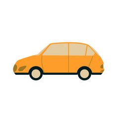 yellow passenger city car side view in flat style vector image