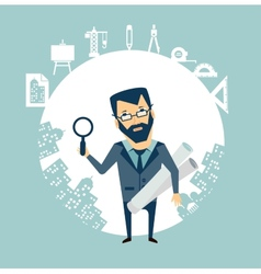 architect expert looking through a magnifying vector image vector image