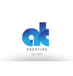 blue gradient at a t alphabet letter logo vector image vector image