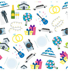cartoon wedding seamless pattern background vector image vector image