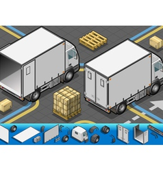 isometric container refrigerator truck in rear vector image