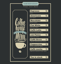 menu with price list for the coffee house with cup vector image