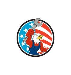 American Bald Eagle Mechanic Spanner Circle USA vector image
