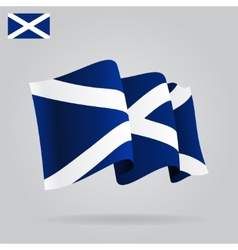 Flat and waving scottish flag vector