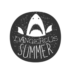 Great White Shark With Open Mouth Summer Surf Club vector image vector image