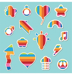 rainbow stickers vector image vector image