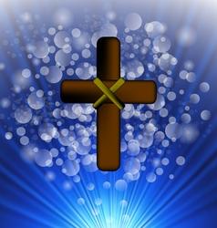 Simple Brown Wooden Cross vector image