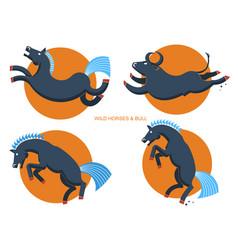 Wild horses and bullrodeo symbols vector