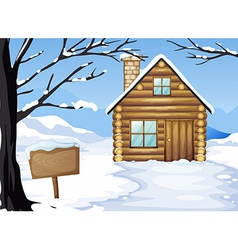 A wooden house near the empty signboard vector image vector image