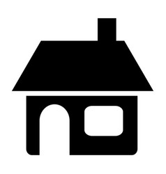black silhouette of house with chimney in white vector image