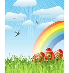 easter with eggs birds and rainbow vector image vector image