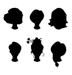 hairstyle silhouettewomangirlfemale hair vector image