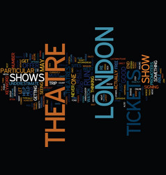 london theatre tickets text background word cloud vector image vector image