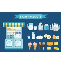Milk products icon set flat style isolated on vector image