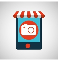 mobile phone e-commerce and photographic camera vector image