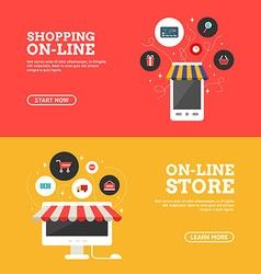 Shopping On-line Online Store Set of Flat Design vector image