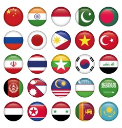 Asiatic Flags Round Icons vector image