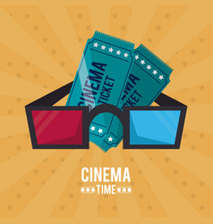 colorful poster of cinema time with tickets and 3d vector image vector image