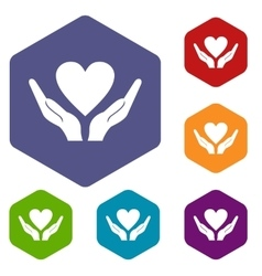 Hands holding heart icons set vector image vector image
