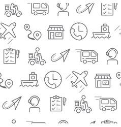 line style icons seamless pattern delivery vector image vector image