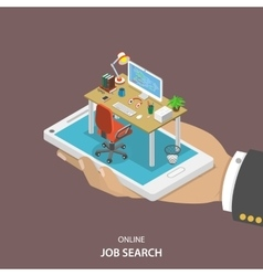 Online job searching isometric flat concept vector image vector image