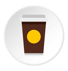Paper cup of coffee icon circle vector