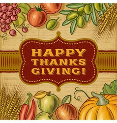 Vintage Happy Thanksgiving Card vector image