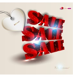 3d red text sale background vector image