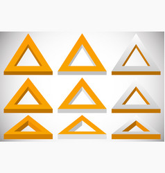 3d triangle shape in more colors set at different vector image