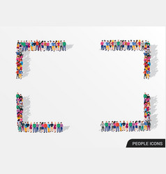 a large group people in form square vector image